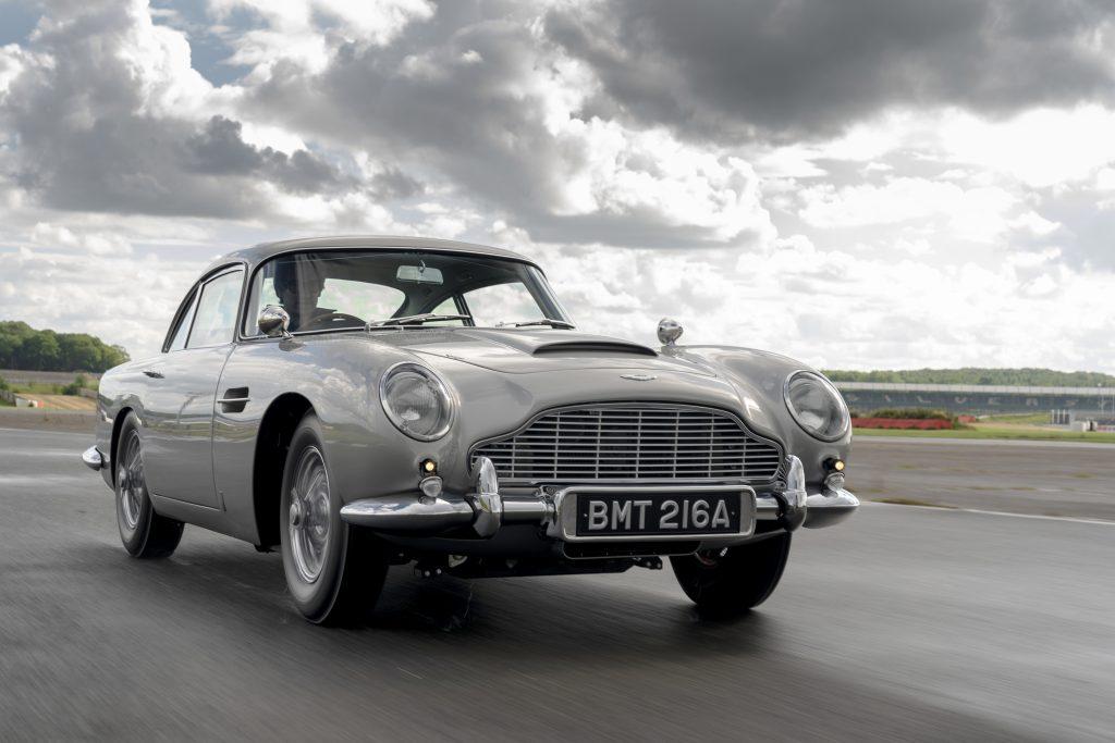 De Aston Martin DB5: een nieuwe versie, vorig jaar gebouwd.