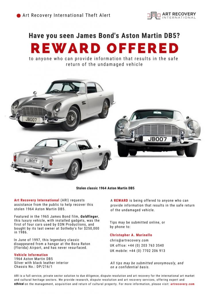 De poster waarmee nog steeds gezocht wordt naar informatie over de gestolen Aston Martin DB5.